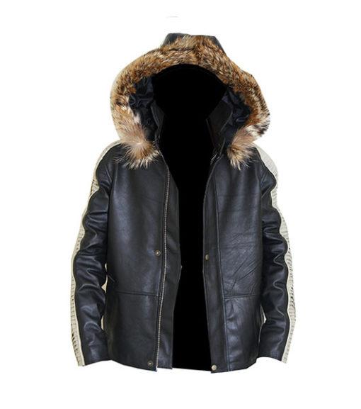 Stylish Hooded Leather Jacket For Men