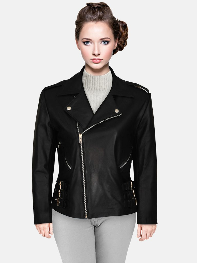 black leather jacket for girl