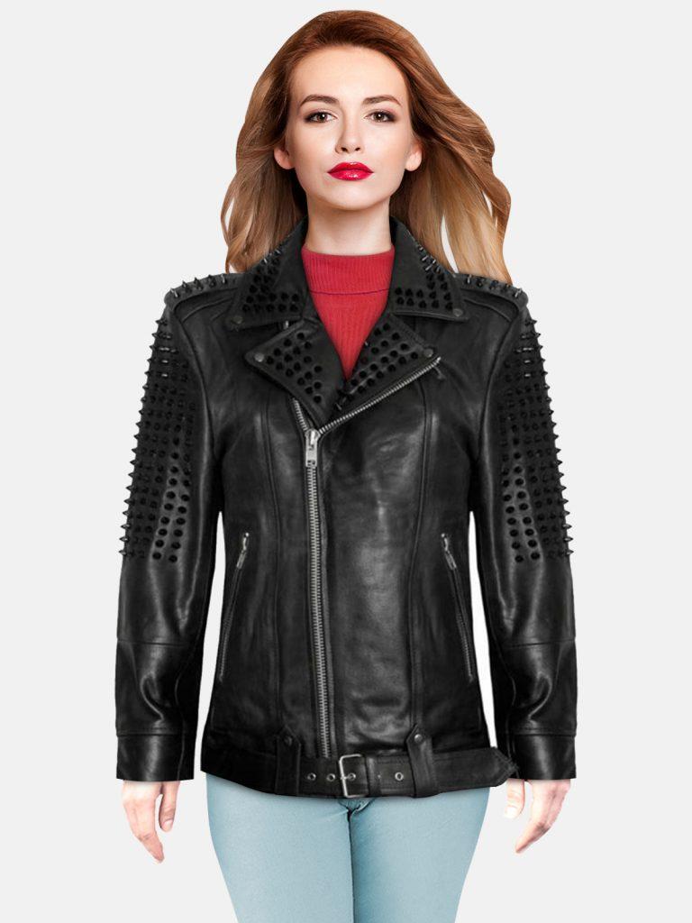 Black Spikes Studded Leather Jacket