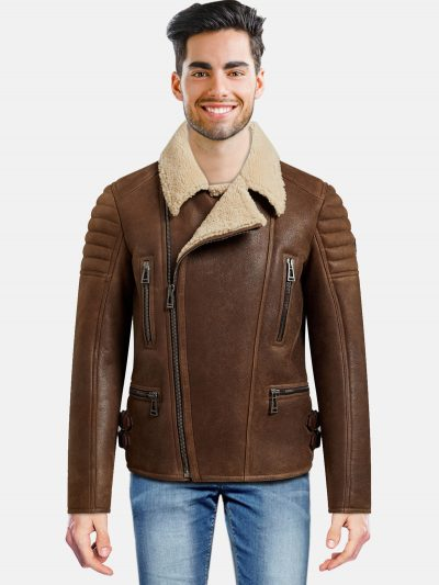 Classic Men Brown Shearling Jacket