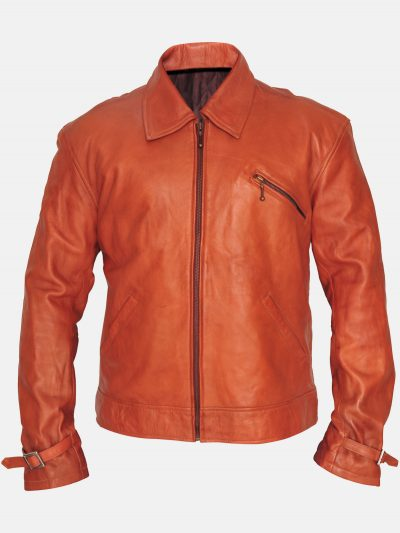 Tiger Orange Leather Jacket