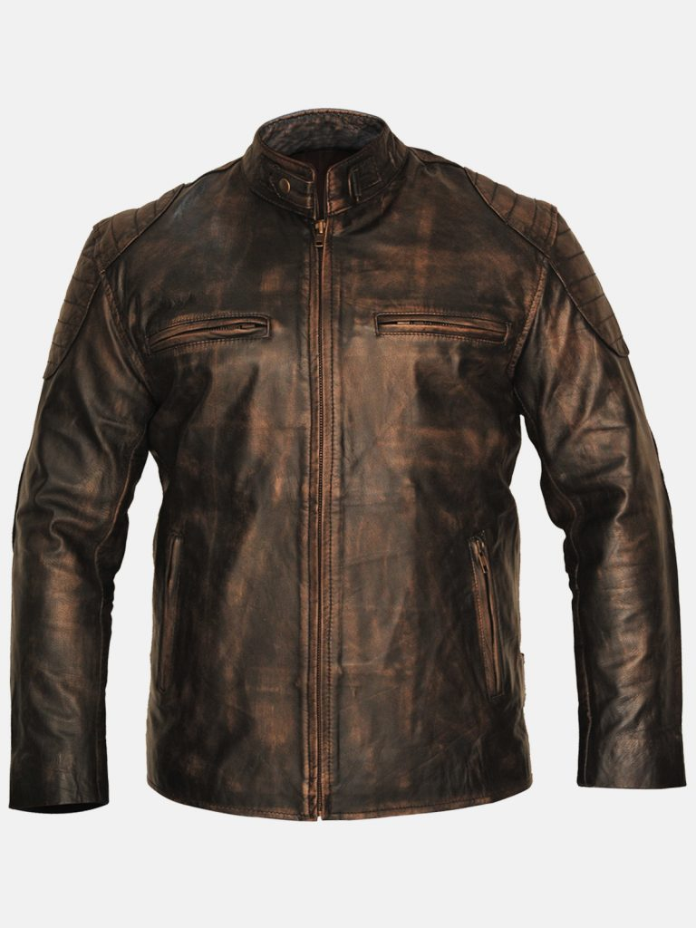 Cafe Racer Distressed Leather Jacket