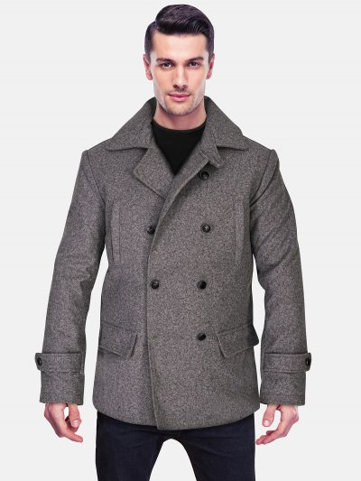 Grey Wool Coat For Mens