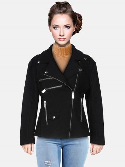 Women Classic Neckline Jet Black Leather Jacket
