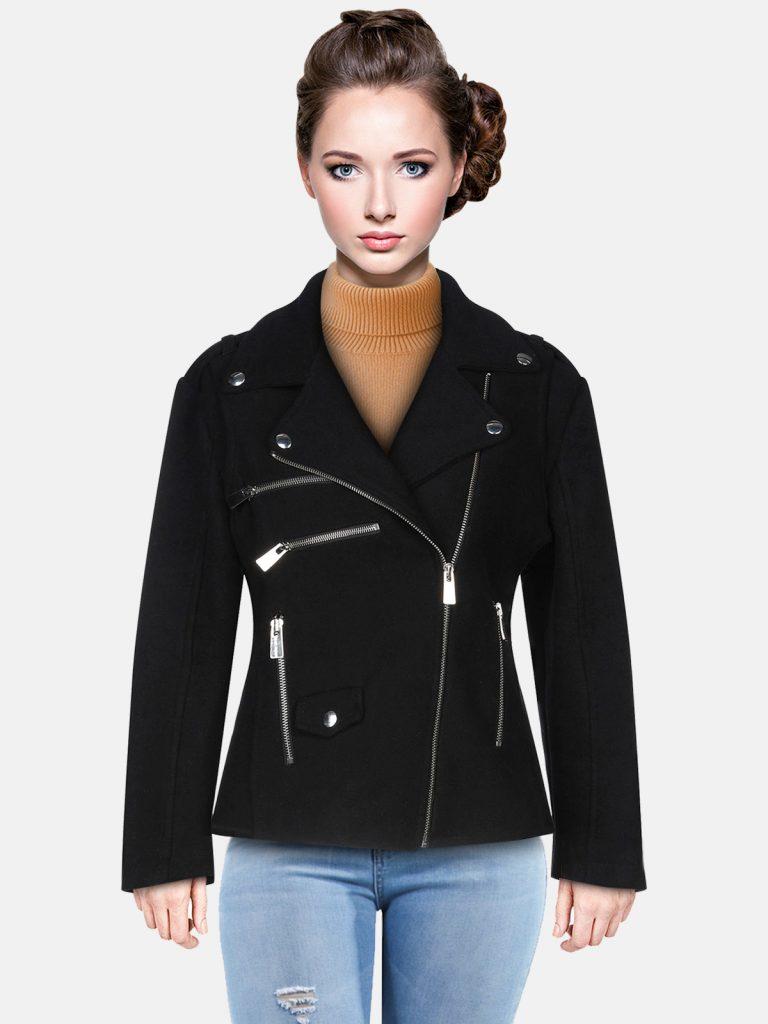 Women Classic Neckline Jet Black Leather Jacket