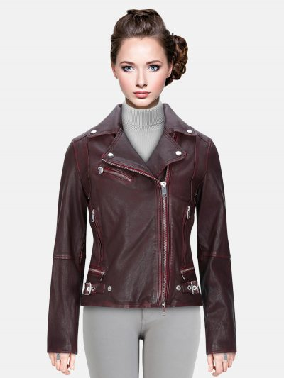 Trendy Maroon Color Biker Jacket
