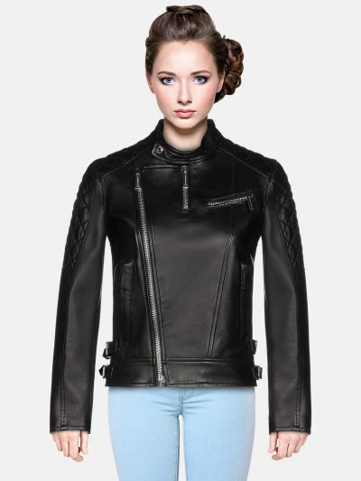 Ebony Black Biker Jacket women Jacket