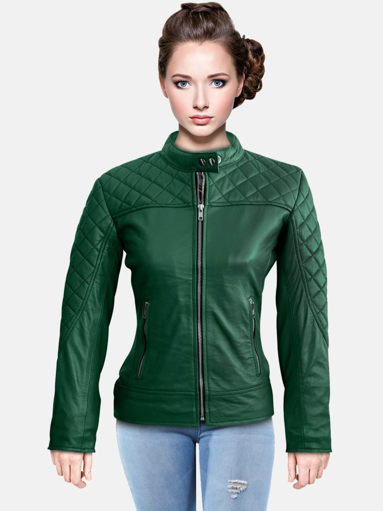 Women Green Quilted Genuine Leather Jacket