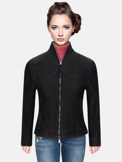 Worn Effect Classic Women Leather Jacket