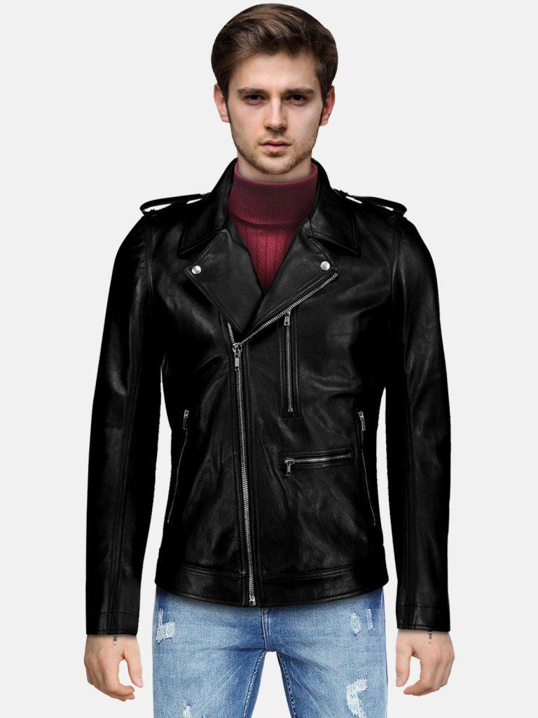 Slim-fit Biker Leather Jacket