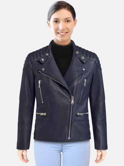 Deep navy women Biker Jacket