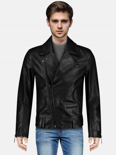 Coal Black Men Biker Leather Jacket