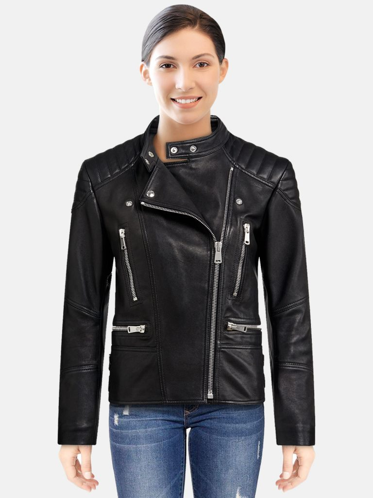 Coal Black Women Biker Leather Jacket