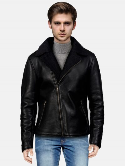 Shearling Black Leather Jacket For Men