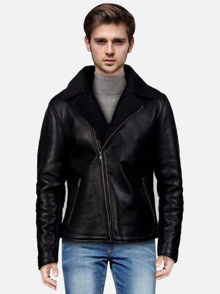 Shearling Black Leather Jacket For Men