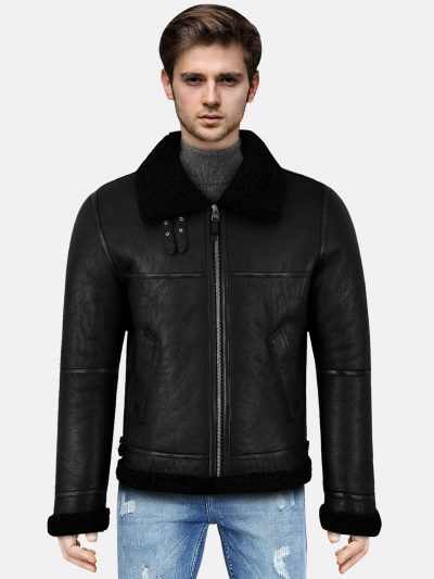 Jet Black Shearling Leather Jacket For Men