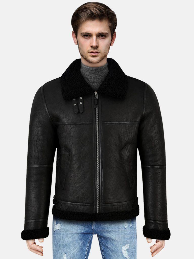 Jet Black Shearling Leather Jacket For Men