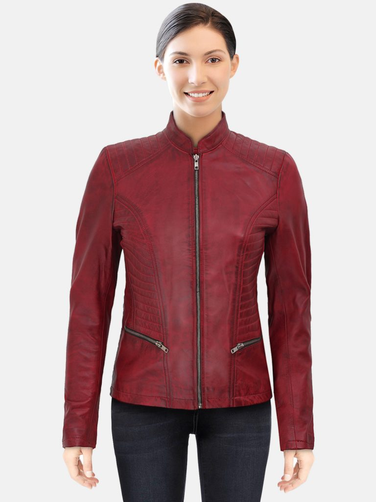 Womens Maroon Slim Fit Leather Jacket