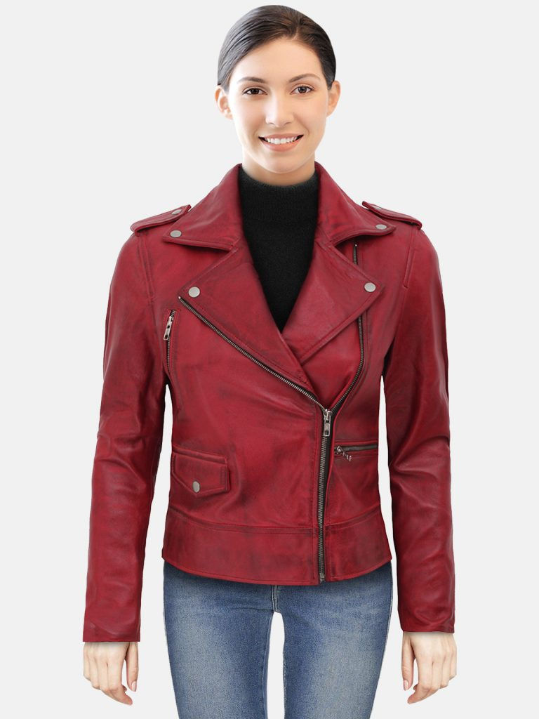 Womens Moto Maroon Asymmetrical Leather Jacket