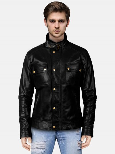 Classic Distressed Black Leather Biker Jacket