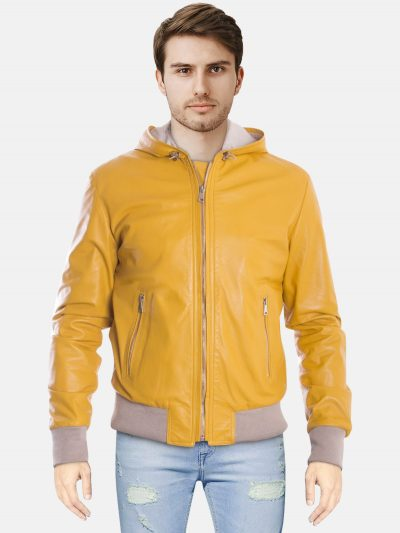 Yellow Hooded Leather Bomber Jacket