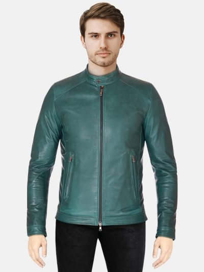 Green Men Trendy Biker jacket