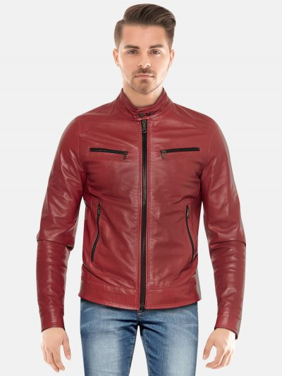 Maroon Classic Motorcycle Leather Jacket For Men