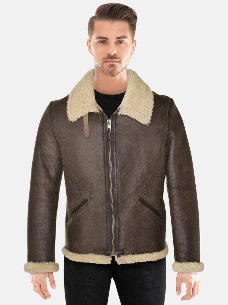 Men's Shearling Brown Leather Jacket