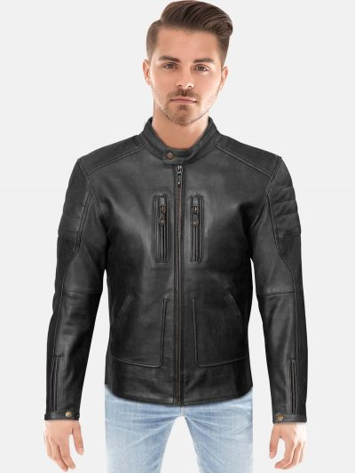 black trendy Black Leather Jacket for Men