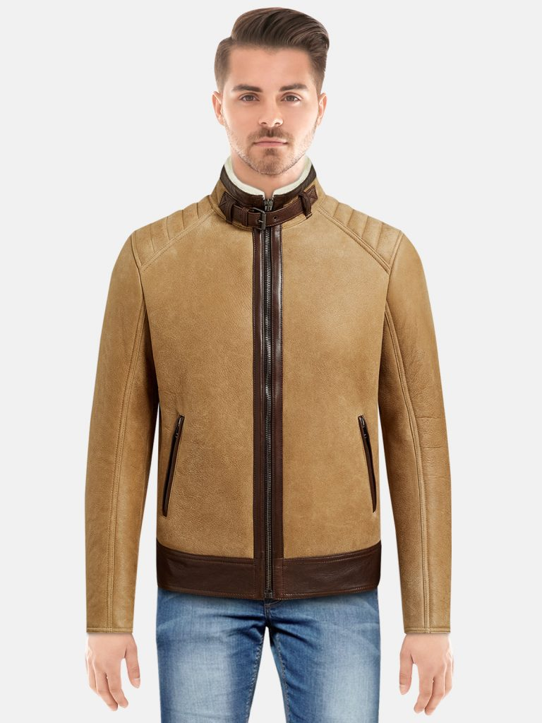 Mens trendy shearling jacket