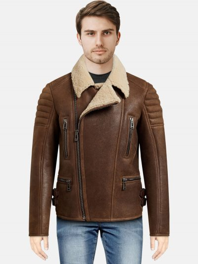 sherling Biker Style Men Leather Jacket