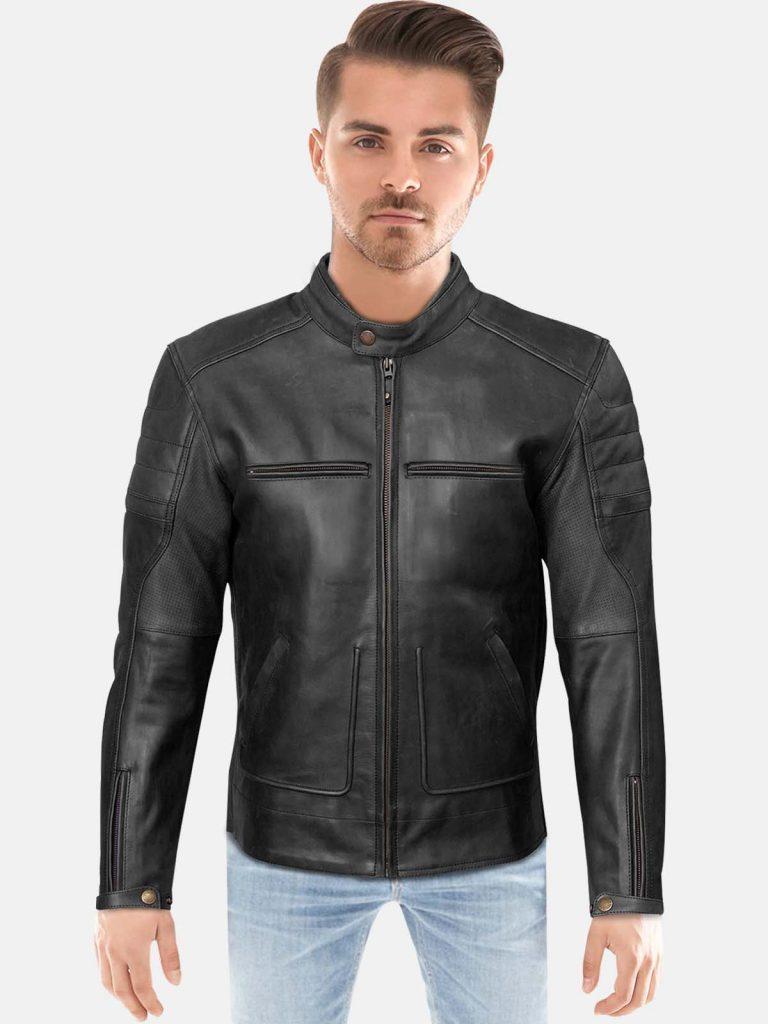 Classic Black Slim Fit Leather Jacket For Men