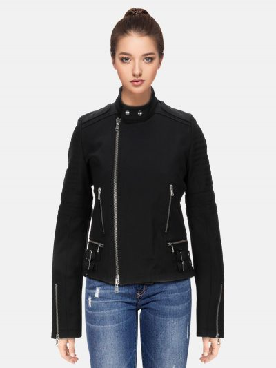 Female Trendy Black Leather Jacket