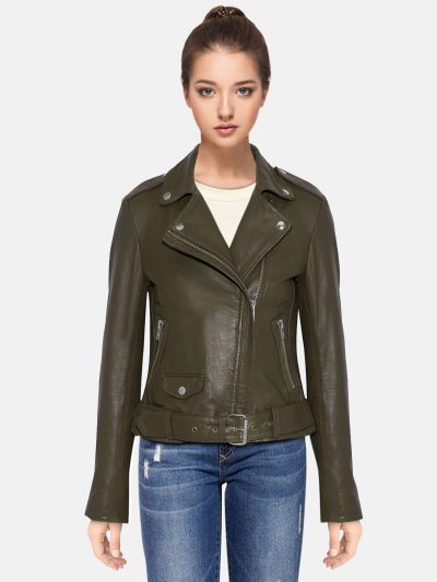 Classic Women Military Green Leather Jacket
