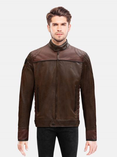 Burgundy Brown Motorcycle Jacket For Men