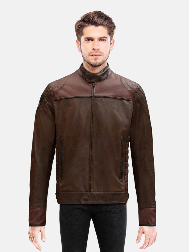 Burgundy Brown Motorcycle Jacket For Men