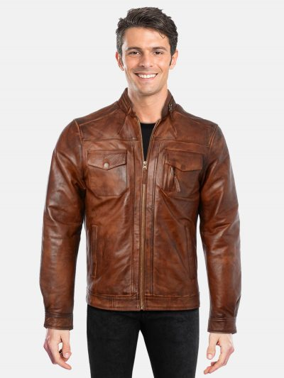 Treandy Tan Brown Leather Jacket
