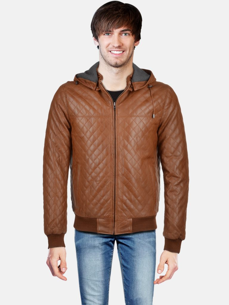 Leather Hooded Bomber Jacket Tan Manley Back
