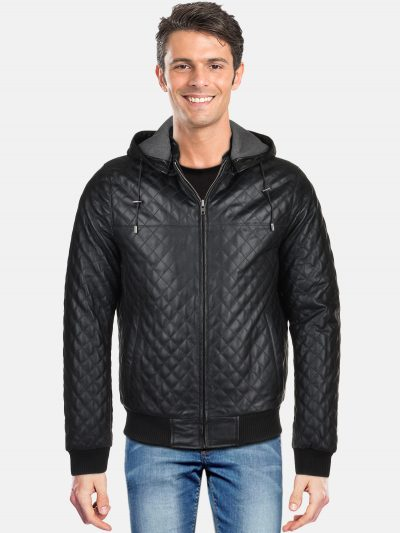 Leather Hooded Bomber Jacket Black Manley Back