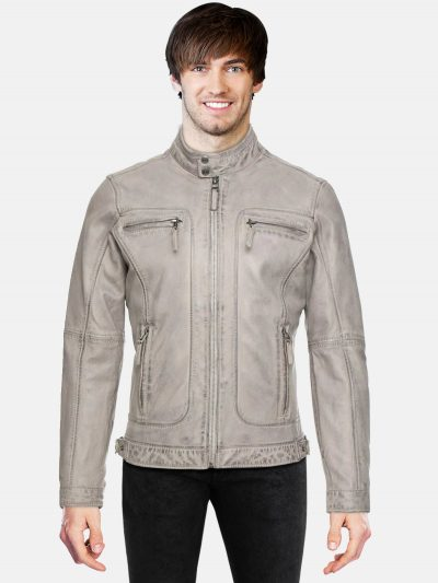 Grey Biker Leather Jacket For Men