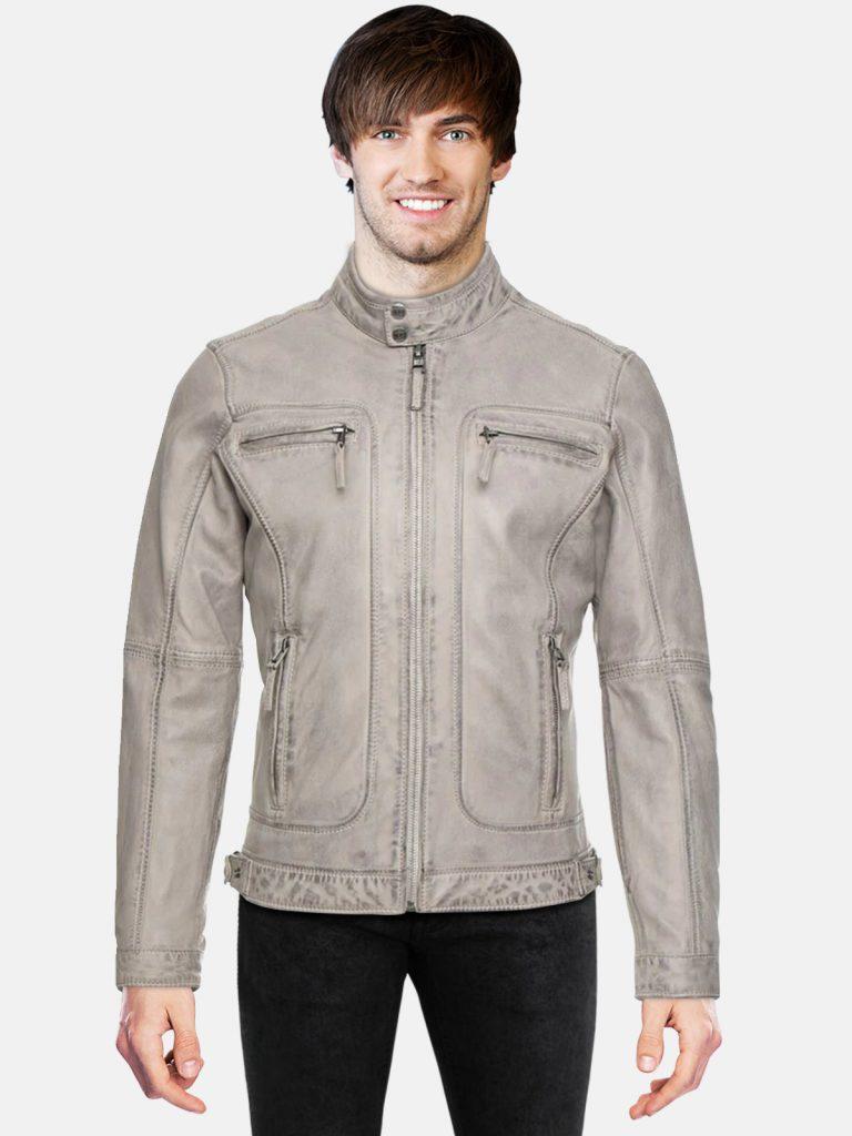 Grey Biker Leather Jacket For Men