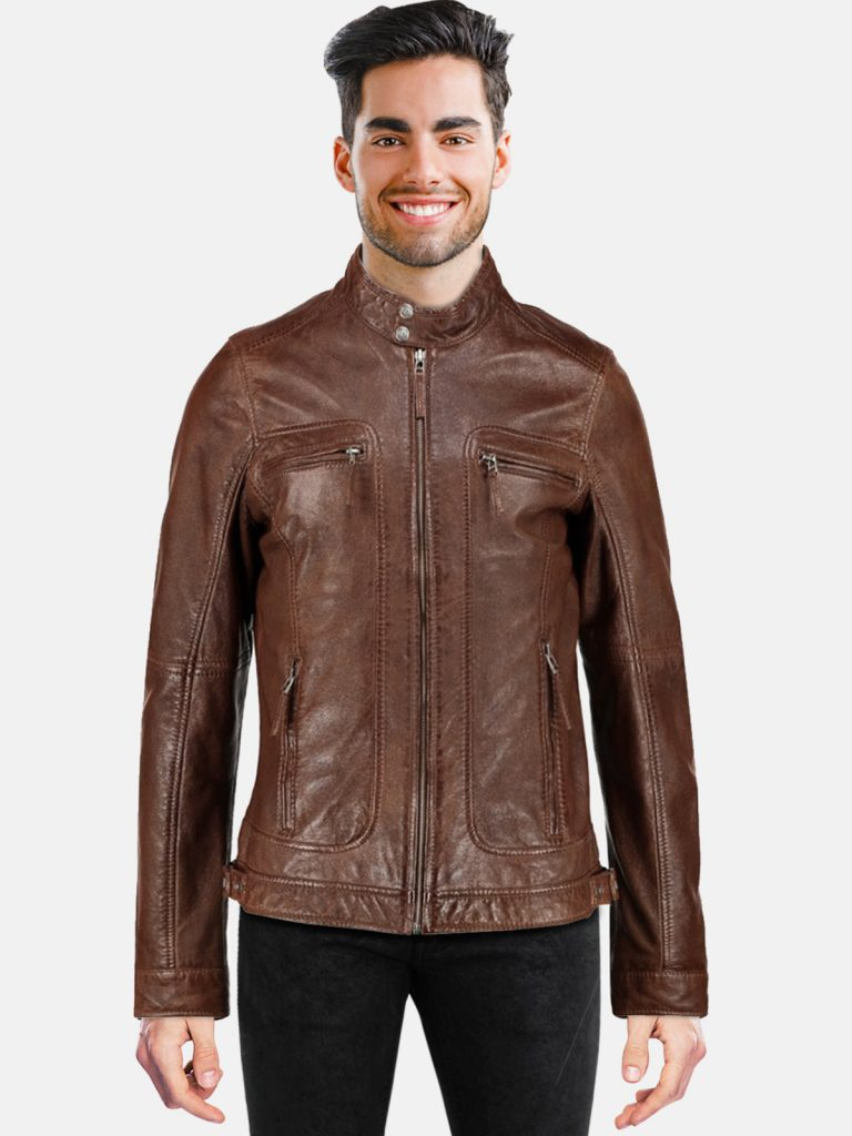 Cognac Men Leather Jacket