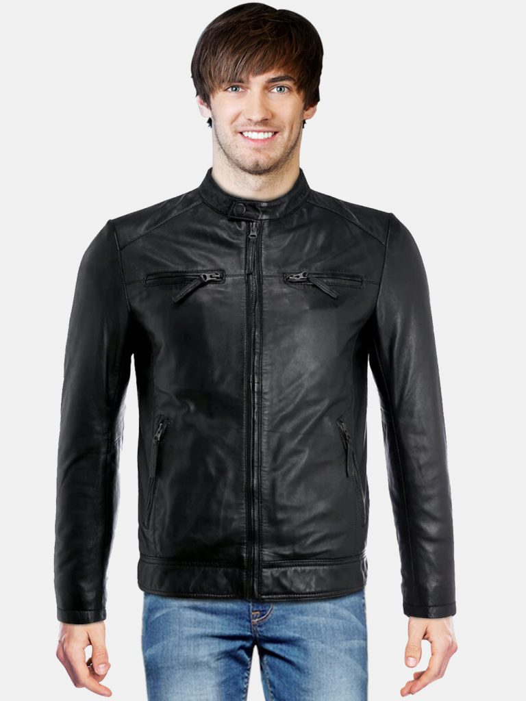 Oil Black Men Leather Jacket