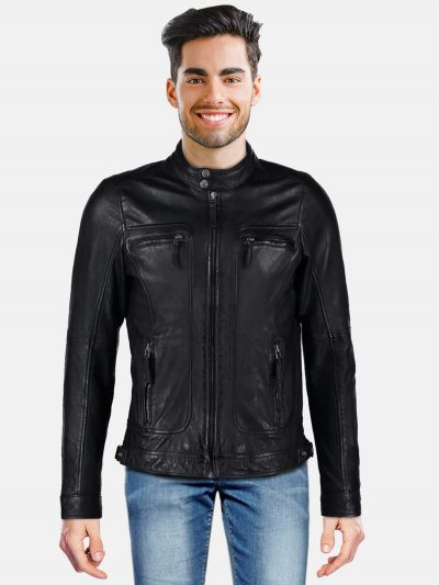 Trendy Black Men Leather Jacket