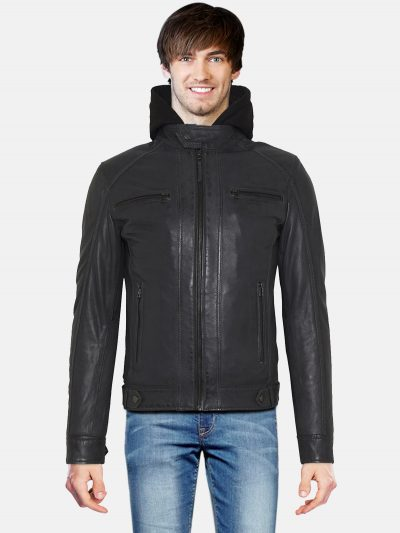 Black Classic Men hooded Style Jacket