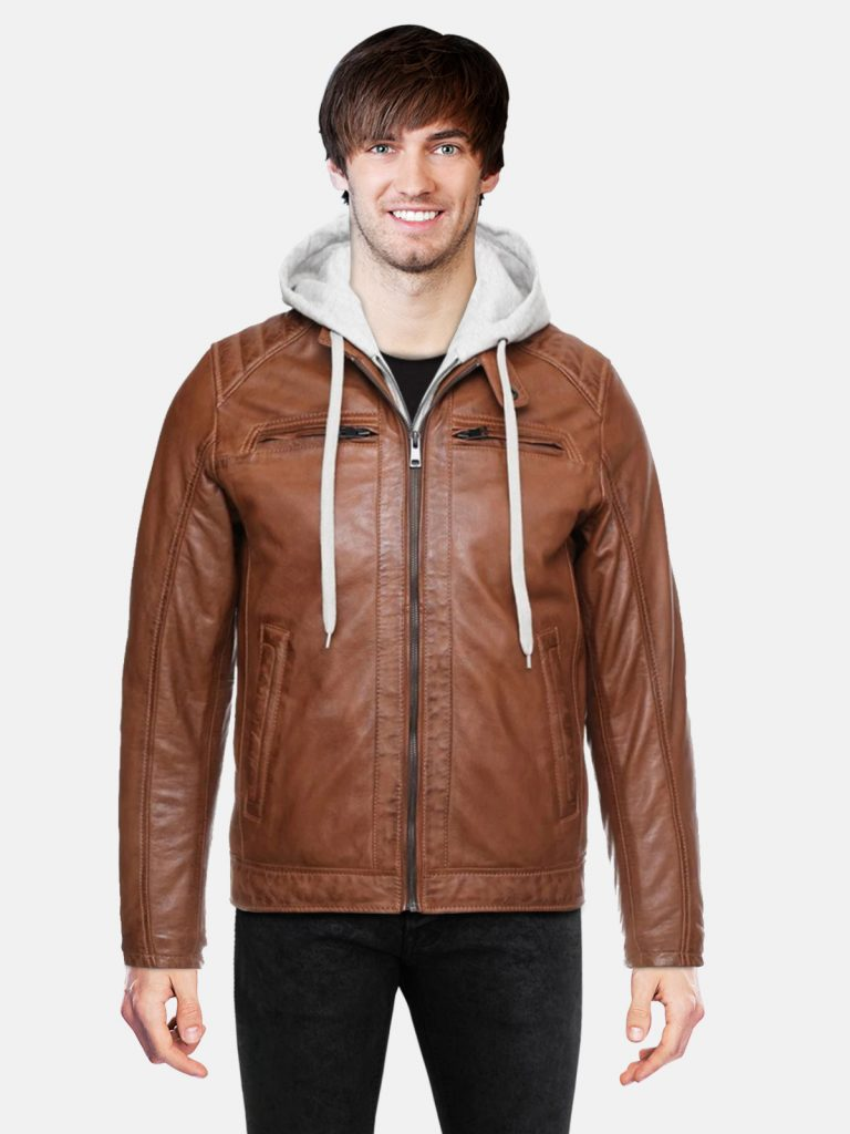Brown Classic Men hooded Style Jacket