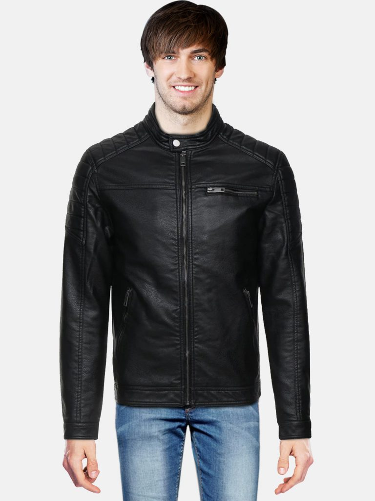 Stylish Men Faux Leather Jacket