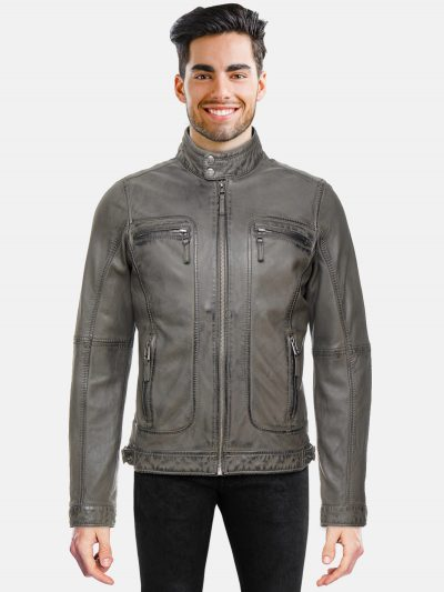 Anthracite Biker Jacket for men