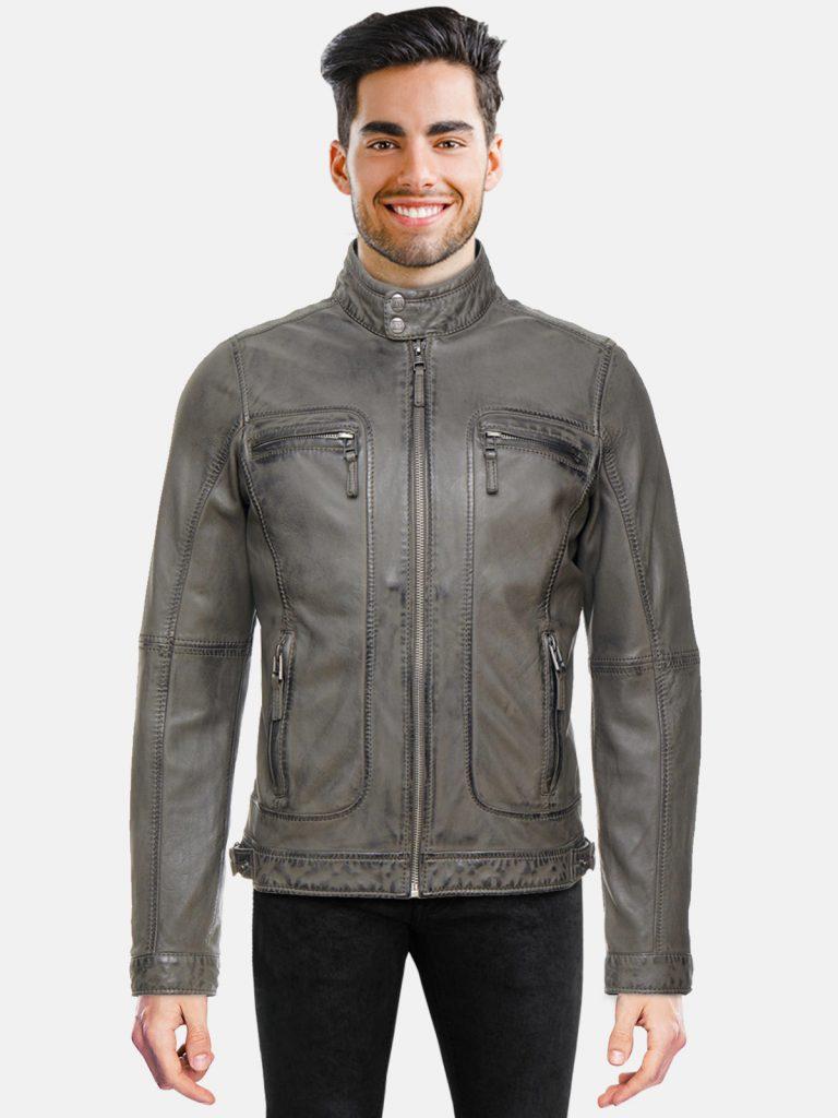 Anthracite Biker Jacket for men