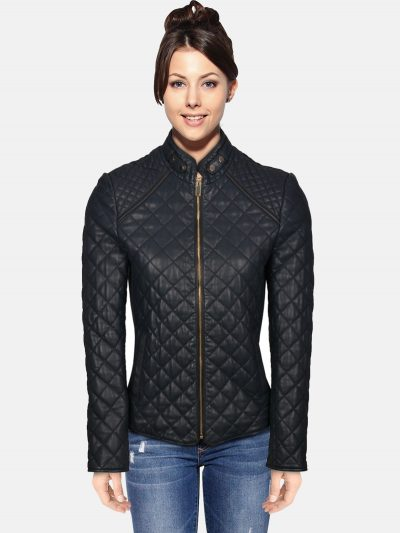 Quilted Leather Jacket For women
